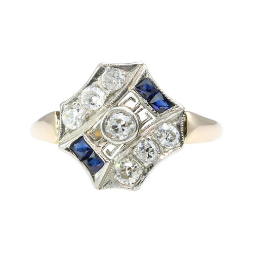 Antique Edwardian 18ct Gold Sapphire & Diamond Cluster Ring