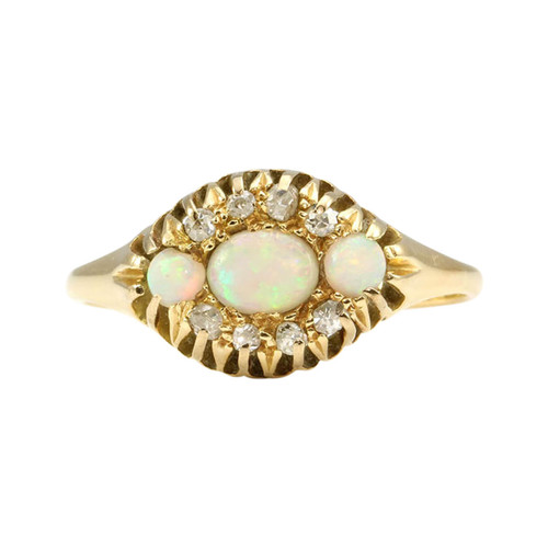 Antique Edwardian 18ct Gold Opal & Diamond Dress Ring