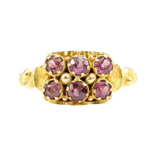 Antique Victorian 15ct Gold Garnet Cluster Ring
