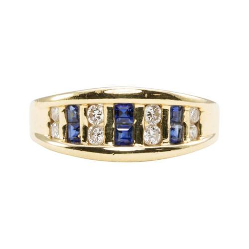 Second Hand 14ct Gold Square Sapphire & Diamond Half Hoop Ring