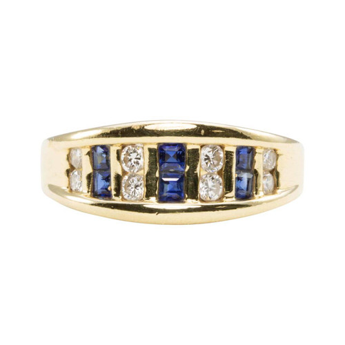 Second Hand 14ct Gold Square Sapphire & Diamond Half Hoop Ring