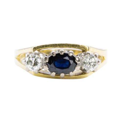 Second Hand 18ct Gold Sapphire & Diamond 3 Stone Ring