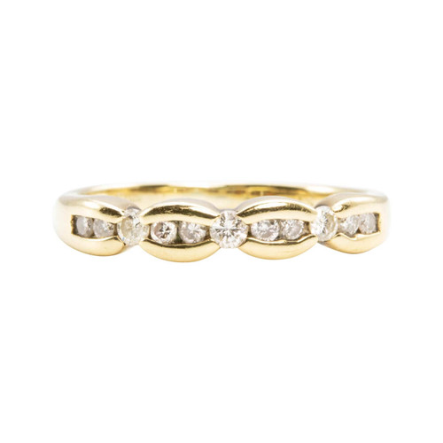 Second Hand 9ct Gold Bow Effect Diamond Half Eternity Ring