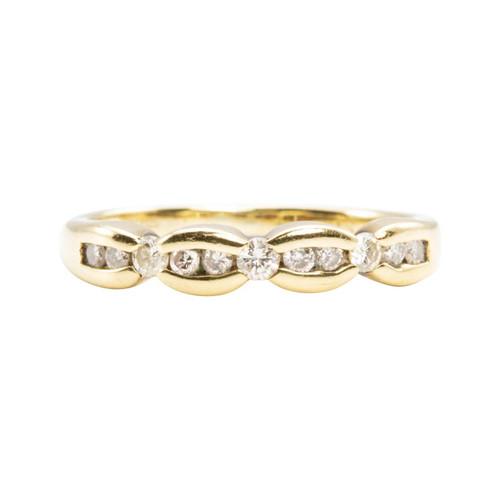Second Hand 9ct Gold Bow Effect Diamond Half Eternity Ring