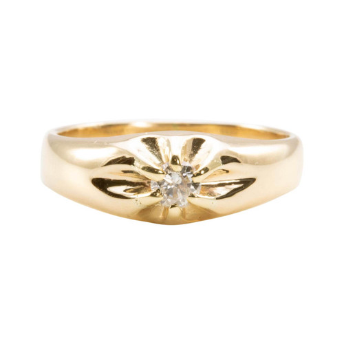 Second Hand Vintage Style 9ct Gold Diamond Gypsy Ring