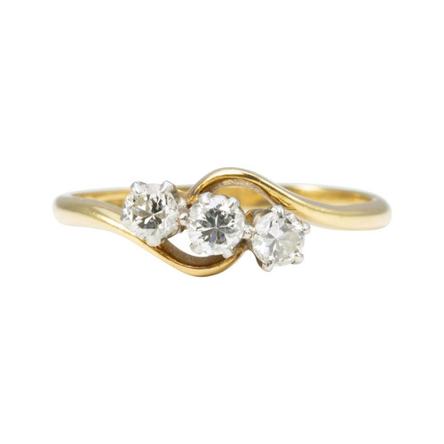 Second Hand 18ct Gold 3 Stone Diamond Cross Over Ring