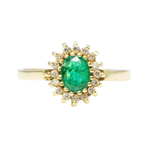 Second Hand Emerald & Diamond 18ct Gold Cluster Ring