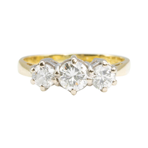 Second Hand 18ct Gold 3 Stone Diamond Ring
