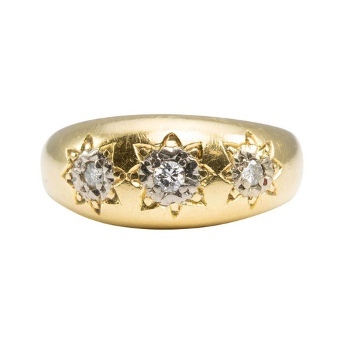 Second Hand 18ct Gold 3 Stone Gypsy Ring