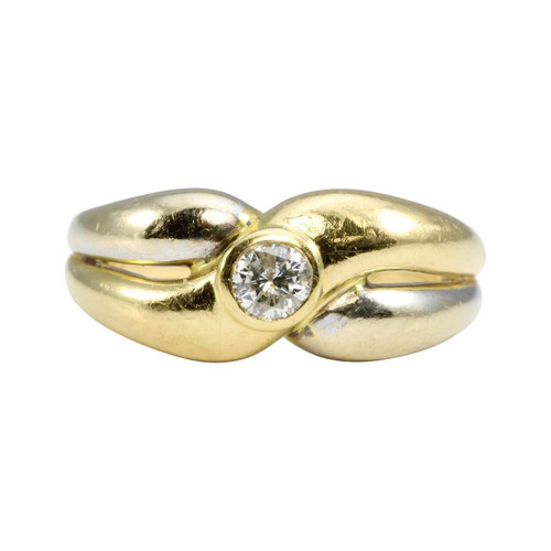 Second Hand 18ct 2 Colour Gold Solitaire Diamond Wide Ring