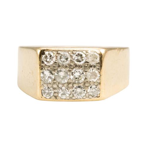 Second Hand 9ct Gold 12 Stone Diamond Signet Ring