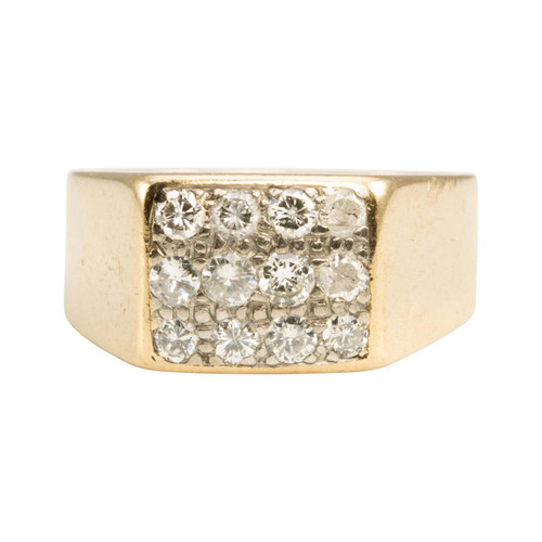 Second Hand 9ct Gold 12 Stone Diamond Signet Ring