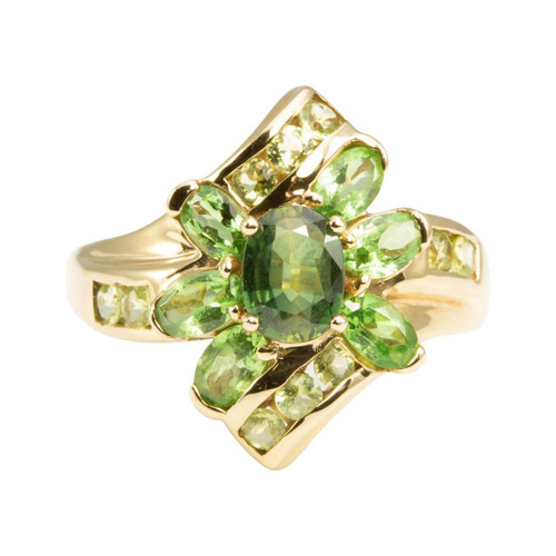 Second Hand 9ct Gold Green Sapphire & Peridot Cluster Ring