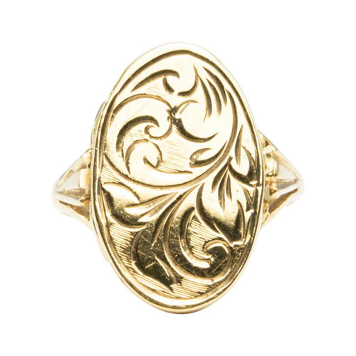 Second Hand 9ct Gold Engraved Locket Ring