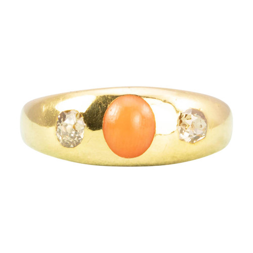 Antique 18ct Gold Coral & Diamond Gypsy Ring