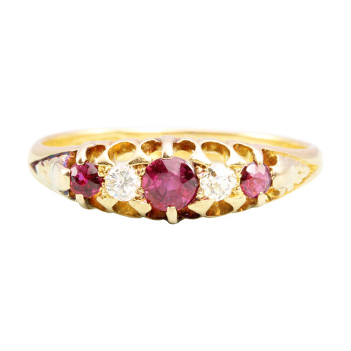 Antique Edwardian 18ct Gold Ruby & Diamond 5 Stone Ring
