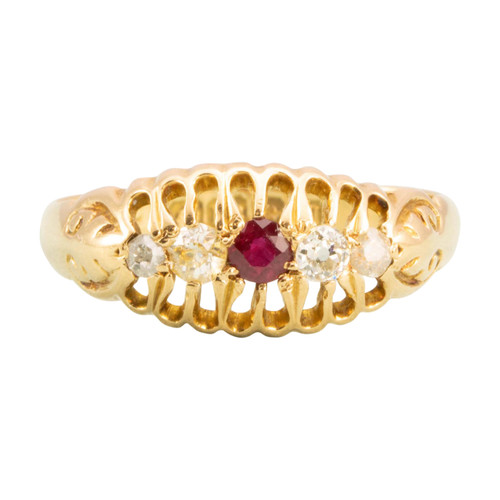 Antique 18ct Gold Ruby & Diamond 5 Stone Ring