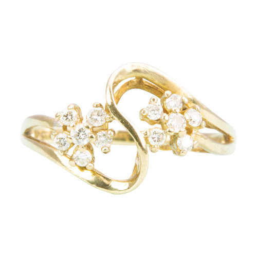 Second Hand 9ct Gold Diamond Flower Dress Ring