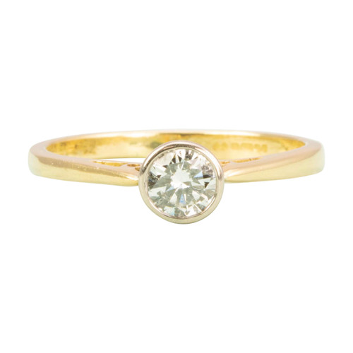 Second Hand Modern 18ct Gold Diamond Solitaire Engagement Ring