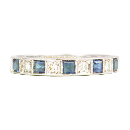 Second Hand Modern 18ct Gold Sapphire & Diamond Eternity Ring