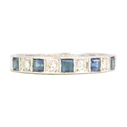 Second Hand Modern 18ct Gold Sapphire & Diamond Eternity Ring