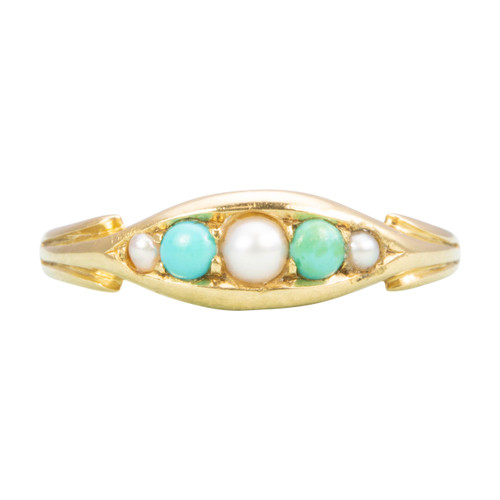 Antique Victorian18ct Gold Peal & Turquoise Ring