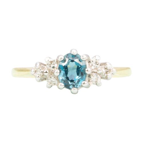 Second Hand 9ct Gold Blue Topaz & Diamond Dress Ring