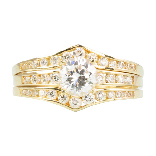 Second Hand 14ct Gold Cubic Zirconia 3 Piece Engagement Wedding Ring