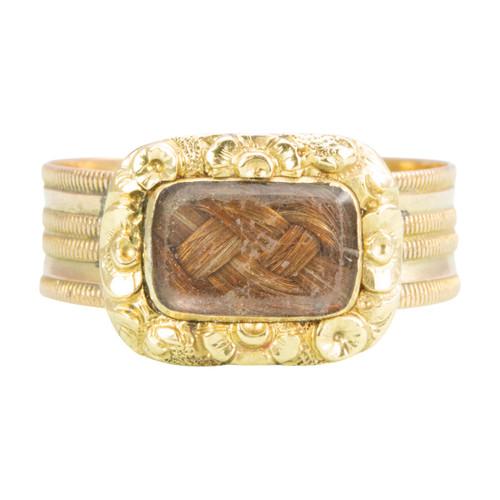 Antique Georgian 15ct Gold Morning Ring with Hairwork Panel