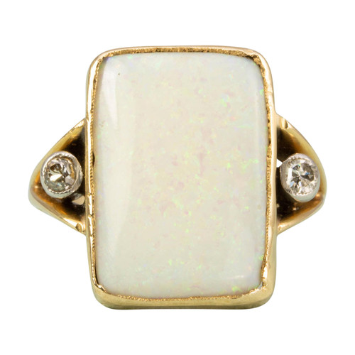 Antique 18ct Gold Opal & Diamond Panel Ring