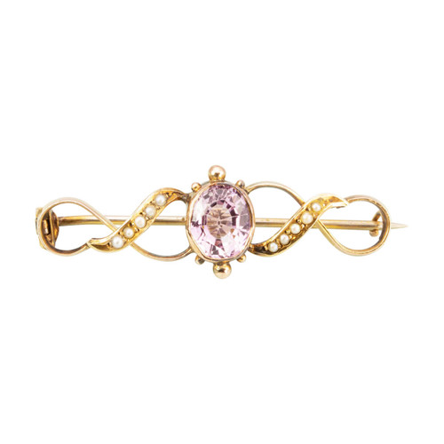 Antique 9ct Gold Pink Spinel & Seed Pearl Brooch