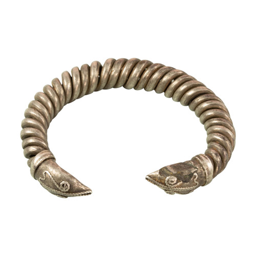 Ancient Western Asiatic Silver Snake Head Bracelet