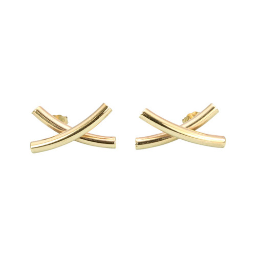Second Hand 9ct Gold Kiss X Stud Earrings
