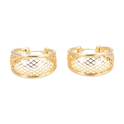 Second Hand 9ct Gold Lattice Mesh Hoop Earrings