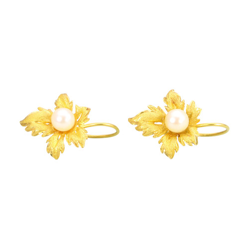 Second Hand 18ct Gold Pearl Leaf Earrings