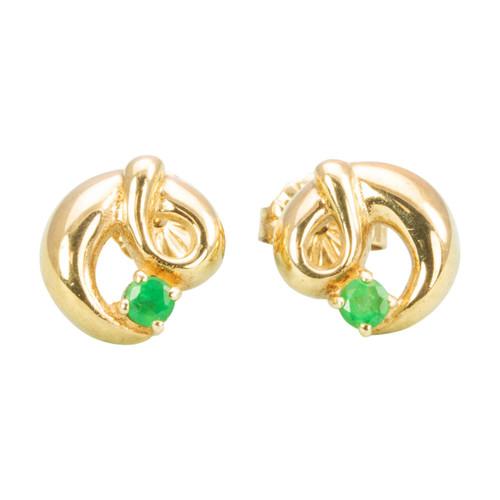 Second Hand 9ct Gold Emerald Twist Stud Earrings