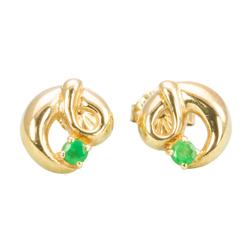 Second Hand 9ct Gold Emerald Twist Stud Earrings