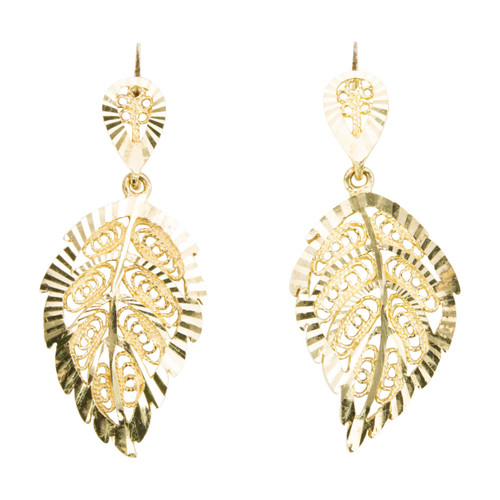 Second Hand 9ct Gold Leaf Drop Earrings