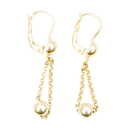 Second Hand 9ct Gold Ball & Chain Drop Earrings