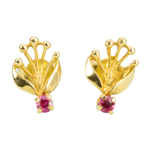 Second Hand 18ct Gold Ruby Fan Studs