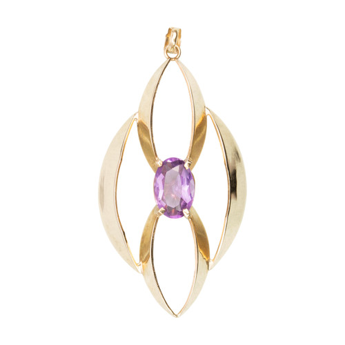 Second Hand 9ct Gold Large Elongated Ellipse Amethyst Pendant