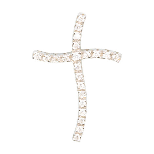 Second Hand 18ct Gold Cubic Zirconia Curved Cross Pendant