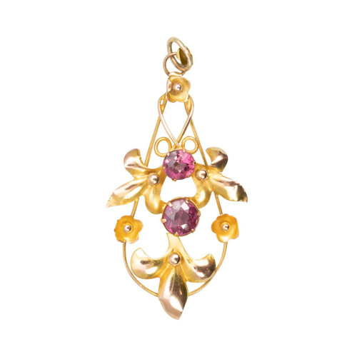 Antique Edwardian 9ct Gold Garnet Floral Pendant