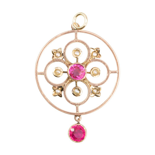Antique Victorian 9ct Rose Gold Pink Paste & Seed Pearl Round Pendant