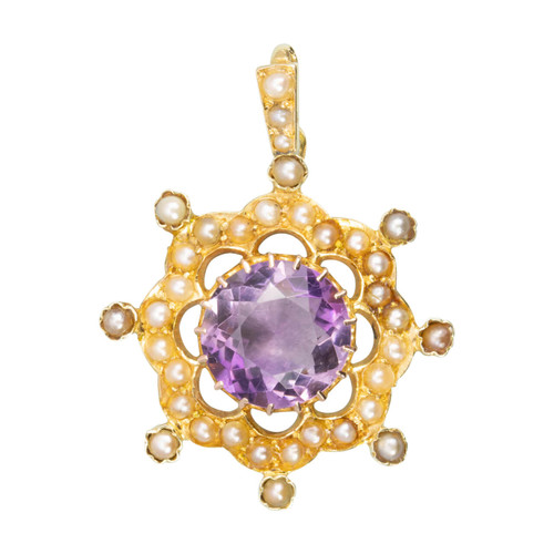 Antique Victorian 15ct Gold Amethyst & Seed Pearl Ornate Pendant