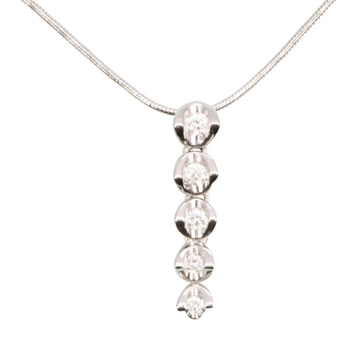 Second Hand 18ct Gold Graduated 5 Stone Diamond Pendant & Chain
