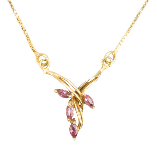 Second Hand 18ct Gold Ruby Drop Pendant Necklace