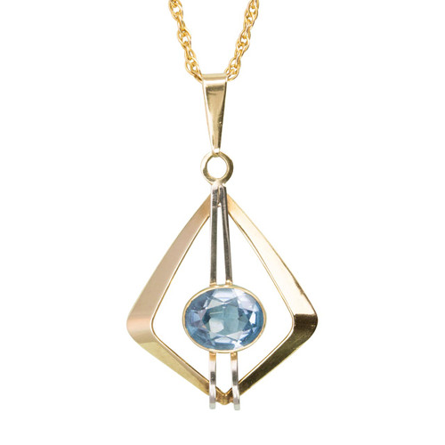 Second Hand 9ct 2 Colour Gold Blue Spinel Diamond Shaped Pendant & Chain