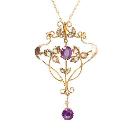 Antique Victorian 9ct Gold Purple Paste & Seed Pearl Belle Époque Pendant
