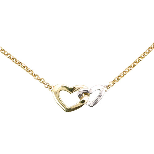 Second Hand 9ct Gold Diamond Double Heart Pendant Necklace